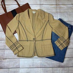 J. Jill tan linen herringbone pattern blazer